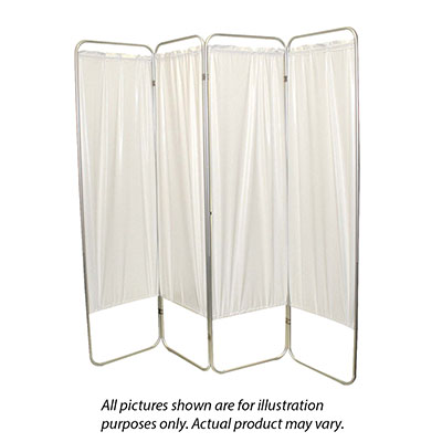 "King size 4-Panel Privacy Screen - Yellow 4 mil vinyl, 113"" W x 68"" H extended, 31"" W x 68"" H x3.25"" D folded"