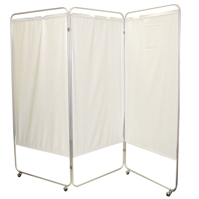 "King size 3-Panel Privacy Screen with casters - Yellow 4 mil vinyl, 85"" W x 68"" H extended, 31"" W x 68"" H x2.5"" D folded"