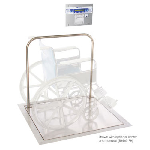 "SR Scales AC-Operated In-Floor Platform Scale with Printer and Handle, 32"" x 36"""
