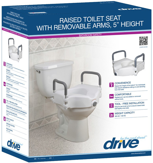 Super Drive Medical Elevated Raised Toilet Seat With Removable Padded Arms Standard Seat Pdpeps Interior Chair Design Pdpepsorg