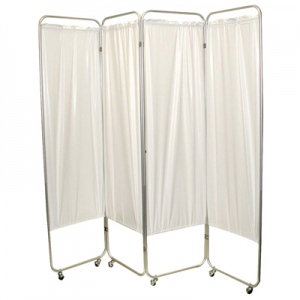 "Standard 3-Panel Privacy Screen with casters - Yellow 4 mil vinyl, 48"" W x 68"" H extended, 19"" W x 68"" H x2.5"" D folded"