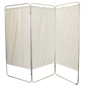 "King size 3-Panel Privacy Screen - White 6 mil vinyl, 85"" W x 68"" H extended, 31"" W x 68"" H x2.5"" D folded"
