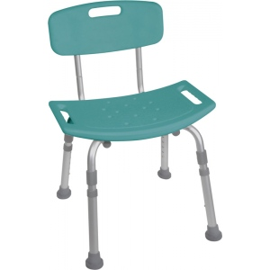 Drive Medical Design Deluxe Aluminum Bath Chair with Tool-Free Removable Back: Teal