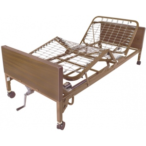 "Drive Medical Design Semi-Electric Bed with Half Rails and 80"" Innerspring Mattress: Single Crank"