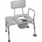 Drive Medical Design Combination Padded Transfer Bench/Commode: Tool-Free Removable Back and Arm