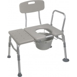 Drive Medical Design Combination Transfer Bench/Commode: Tool-Free Removable Back and Arm
