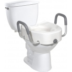 Drive Medical Design Regular/Elongated Toilet Seat with Arms and Lock: Premium Plastic, Raised