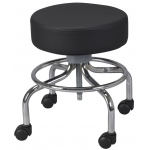 Drive Medical Design Wheeled Round Stool: Revolving, Adjustable Height with Round Footrest