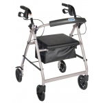 "Drive Medical Design Aluminum Rollator Walker: Silver, Fold Up, Removable Back Support, Padded Seat, 6"" Caster"