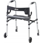 Drive Medical Design Clever Lite LS Rollator Walker with Seat and Push Down Brakes: Adult Walker