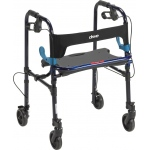 "Drive Medical Design Clever-Lite Walker with Seat and Loop Locks: Adult, Blue, 5"" Casters"