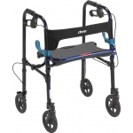 "Drive Medical Design Clever-Lite Walker with Seat and Loop Locks: Adult, Blue, 8"" Casters"