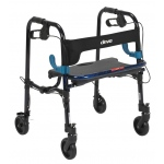 "Drive Medical Design Clever-Lite Walker with Seat and Loop Locks: Junior, Blue, 5"" Casters"