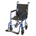 "Drive Medical Design Lightweight Aluminum Transport Wheelchair: 17"", Blue Frame and Black Upholstery"