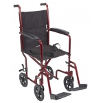 "Drive Medical Design Lightweight Aluminum Transport Wheelchair: 17"", Red Frame and Black Upholstery"