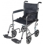"Drive Medical Design Lightweight Steel Transport Wheelchair with Fixed Full Arms: 17"", Silver Vein Frame, Black Upholstery"
