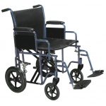 Drive Medical Design Bariatric Steel Transport Wheelchair with Swing Away Footrest: Blue, 22""