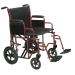 Drive Medical Design Bariatric Steel Transport Wheelchair with Swing Away Footrest: Red, 22""