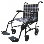 Drive Medical Design Fly Lite Ultra Lightweight Aluminum Transport Wheelchair: Black Frame and Black/White/Red Plaid Upholstery, 19""