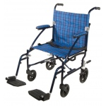 Drive Medical Design Fly Lite Ultra Lightweight Aluminum Transport Wheelchair: Blue Frame and Blue Plaid Upholstery, 19""