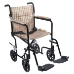 Drive Medical Design Deluxe Fly Weight Aluminum Transport Wheelchair: Black Frame and Tan Plaid Upholstery, 17""