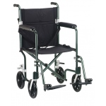 Drive Medical Design Deluxe Fly Weight Aluminum Transport Wheelchair: Green Frame and Black Upholstery, 17""