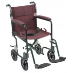 Drive Medical Design Deluxe Fly Weight Aluminum Transport Wheelchair: Green Frame and Burgundy Upholstery, 17""