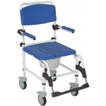 Drive Medical Design Aluminum Rehab Shower Commode Chair with Four Rear-Locking Casters
