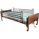 "Drive Medical Design Semi-Electric Bed with Full-Length Side Rails and 80"" Innerspring Mattress: Single Crank"