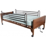 "Drive Medical Design Semi-Electric Bed with Full-Length Side Rails and 80"" Therapeutic Support Mattress: Single Crank"