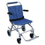 Drive Medical Design Super Light Folding Transport Chair with Carry Bag and Flip-Back Arms: Silver Frame and Blue Upholstery, 18""
