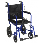 "Drive Medical Design Lightweight Expedition Aluminum Transport Chair: Blue, 12"" Rear Flat-Free Wheels"