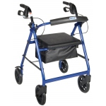 Drive Medical Design Rollator Walker with Fold Up Removable Back Support Padded Seat: Blue, Aluminum
