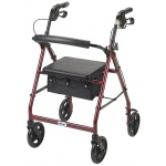 Drive Medical Design Rollator Walker with Fold Up Removable Back Support Padded Seat: Red, Aluminum
