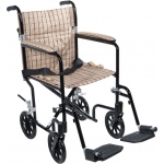 Drive Medical Design Deluxe Fly Weight Aluminum Transport Wheelchair: Black Frame and Tan Plaid Upholstery, 19""