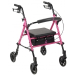"Drive Medical Design ACS Aluminum Rollator: 6"" Casters, Fold-Up and Removable Back Support, Universal Seat Height, Padded Seat, Loop Locks"