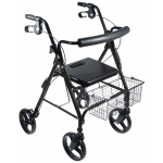 "Drive Medical Design D-Lite Aluminum Rollator with Removable 8"" Casters: Black"