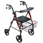 "Drive Medical Design D-Lite Aluminum Rollator with Removable 8"" Casters: Red"