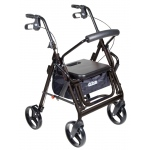 "Drive Medical Design Duet Rollator/Transport Chair: Black, 8"" Casters, Padded Seat, Loop Locks"