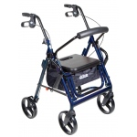 "Drive Medical Design Duet Rollator/Transport Chair: Blue, 8"" Casters, Padded Seat, Loop Locks"