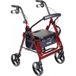 "Drive Medical Design Duet Rollator/Transport Chair: Burgundy, 8"" Casters, Padded Seat, Loop Locks"