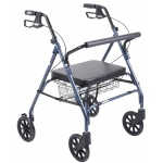 Drive Medical Design Go-Lite Bariatric Steel Rollator: Blue, Padded Seat, Loop Locks
