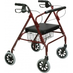Drive Medical Design Go-Lite Bariatric Steel Rollator: Red, Padded Seat, Loop Locks