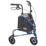 "Drive Medical Design Deluxe 3 Wheel Aluminum Rollator: Flame Blue, 7.5"" Casters, Loop Locks"