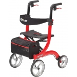 "Drive Medical Design Nitro Aluminum Rollator: Red, 10"" Casters"