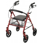 "Drive Medical Design Durable 4 Wheel Rollator with 7.5"" Casters: Red"