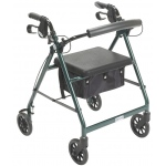 "Drive Medical Design Aluminum Rollator: Green, 6"" Casters"