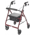 "Drive Medical Design Aluminum Rollator: Red, 6"" Casters"