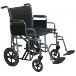 Drive Medical Design Bariatric Steel Transport Wheelchair with Swing Away Footrest: Blue, 20""