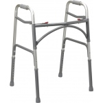 "Drive Medical Design Two Button Bariatric Aluminum Folding Walker with Wider & Deeper Frame Design: Adult, 32"" - 39"""